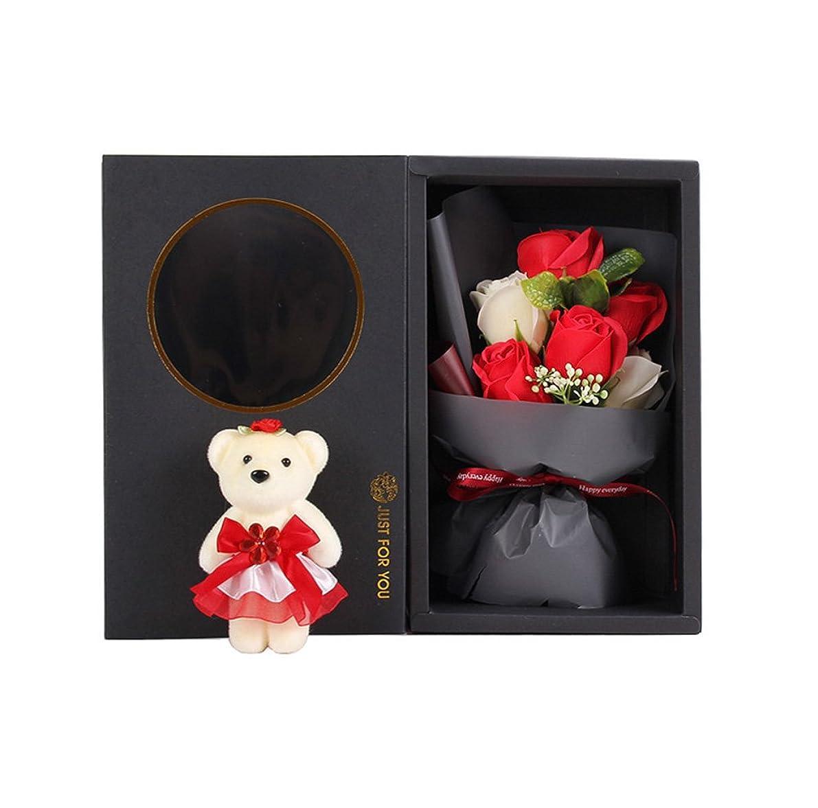 スパンテーブルを設定する飾り羽Arbeflo 造花 バラ可愛い熊の人形付け 結婚花束 プレゼント ギフト 贈り物 お誕生日 告白 母の日 結婚祝い 出産祝い (レッド)
