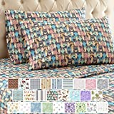 Best Flannel Sheets - Thermee Micro Flannel Sheet Set, Queen, Cat Party Review