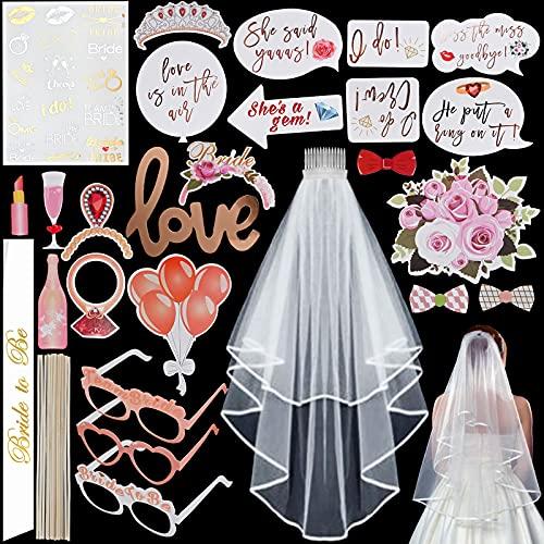Faburo 26PZ Bride to be Kit, Addio al Nubilato Gadget, Sposa di Essere Tracolla,Tatuaggi Temporanei, Velo Bianco con Il Pettine