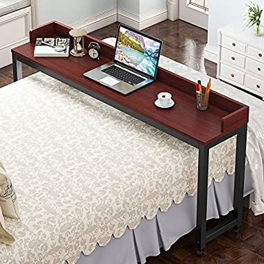 Overbed Table with Wheels, Tribesigns 70.8'' Mobile Desk with Heavy-Duty Metal Legs, Super Sturdy and Stable (Teak.)