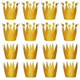 RUBFAC Gold Crown for Party with Elastic Ties, 24pcs