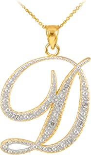 14k Yellow Gold Diamond Script Initial Letter D Pendant Necklace