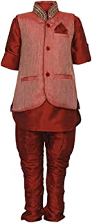 Wear it in 6 ways - 4 pc Designer Traditional Kurta Dhoti with Blue Nehru Jacket for Newborn Infant Baby Boys