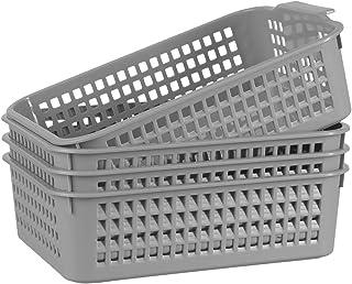 Panier de rangement en plastique – Lot de 4 paniers organisateurs en plastique gris pour étagères, panier de rangement mul...