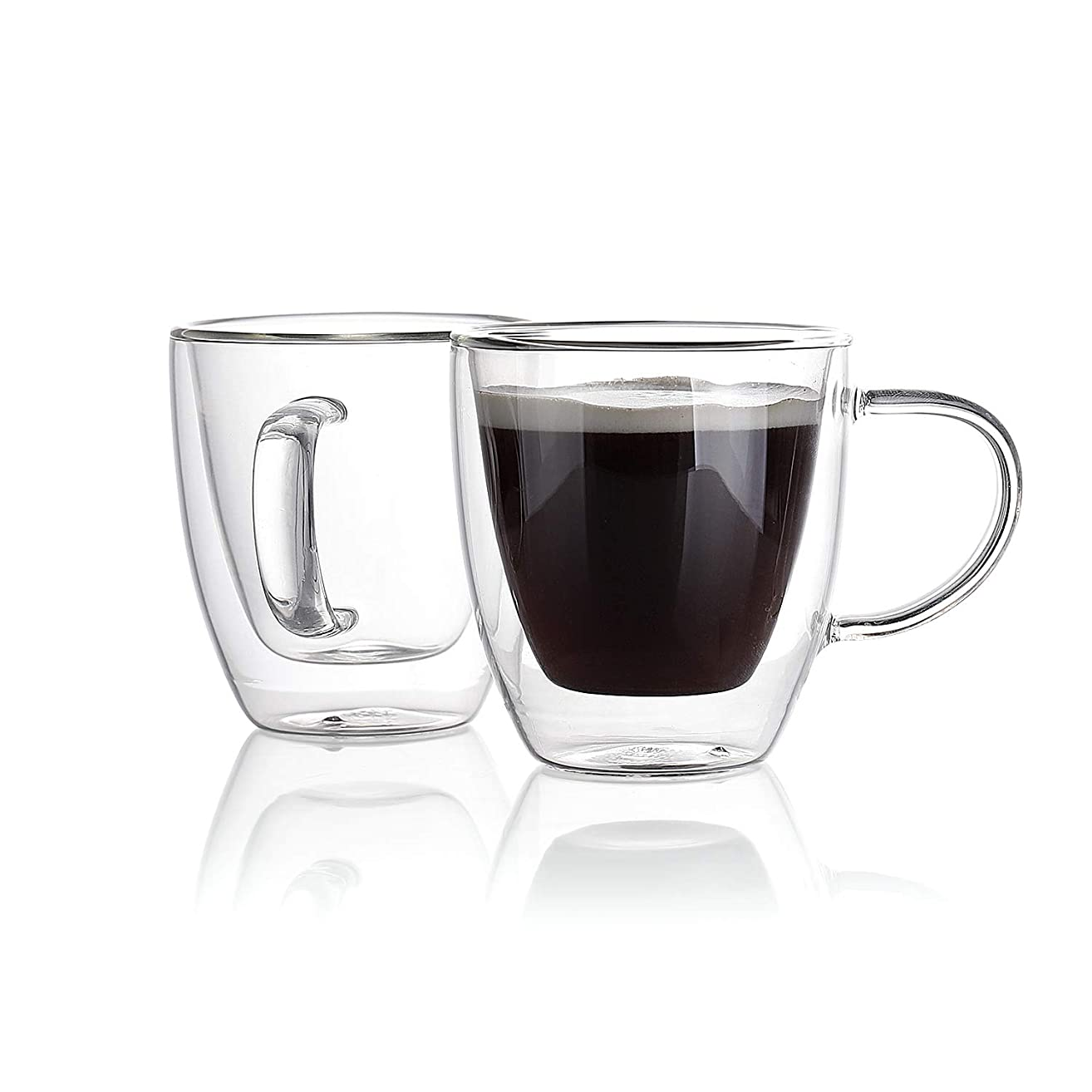 Sweese 4610 Espresso Cups 5.4 oz Set of 2 - Double Wall Insulated Glass Mugs with Handle, Everyday Coffee Glasses Cups Perfect for Espresso Machine and Coffee Maker