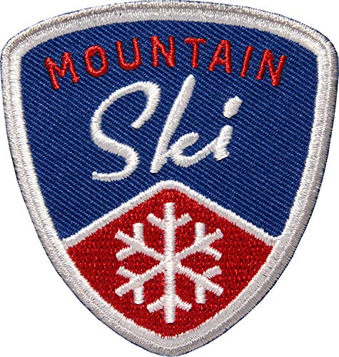 2 x Ski Aufnäher gestickt 62 mm Blau / Skifahren Skitour Schneeflocke Wintersport Berge / Patches zum Aufnähen Aufbügeln auf Jacke Kleidung / Patch Abzeichen Flicken Bügelflicken Applikation (Navy)