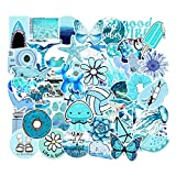 FENGLING Blue Sea Ocean Sticker Pack Vinyl Waterproof Water Bottle Laptop Stickers Decal Graffiti Patches for Teen Girls 53 Pcs