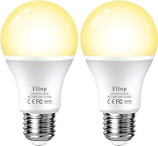 Lampadina Smart WiFi E27, Fitop Lampadina Intelligente LED 9W Equivalente a 80W Dimmerabile Luce Bianca Calda 2700K, Compa...