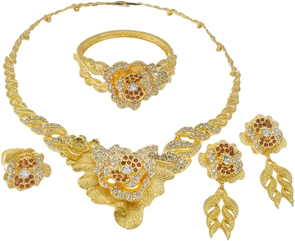 Yulaili Exquisite Diamond-studded Large Flower Jewelry Set and Dubai Gold-plated Earrings Ring Bracelet Four-piece Jewelry Sets