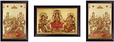SAF Laxmi Ganesh Saraswati Golden Foil Frame Painting Set (Synthetic, 35 cm x 50 cm x 5 cm, Green, Set of 3) (SOAD16)