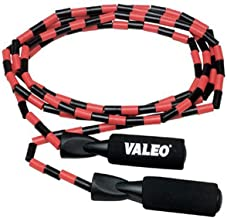 Valeo Beaded Jump Rope, Adjustable 9-Foot Length With Durable Plastic Beaded Nylon Rope And Molded Handles With Foam Grip...