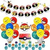 Cartoon Party Set,Juego Vajilla Fiesta Cumpleaños Papel,43 Piezas Pika Infantil de Team Cartoon Anime Theme Artículos para Fiesta de Cumpleaños