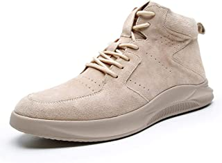 SHENYUAN Men's Ankle Work Boot High Top Shoes Lace up Style Suede Upper Solid Color Round Toe Flat Anti Slip Breathable Leisure Tide Work or Casual Wear (Color : Buff, Size : 39 EU)