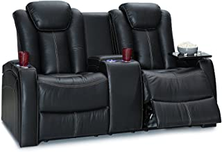 Seatcraft Republic Leather Home Theater Seating Power Recline - (Loveseat w/Center Console, Black)