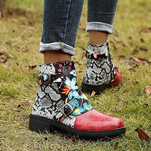 Ksnrang Pneakless Sandalen Sandalen europäische und amerikanische Stil Nationale Wind Totem Mode Martin Stiefel große größe runde Sandalen Frauen Schuhe-Serpentin_39.