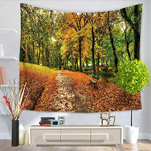 LvBo Sunny Forest Road Decorative Tapestry Autumn Spring Wilderness Fantasy Magical View Wall Hanging for Living Room Bedroom Dorm Decor