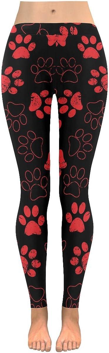 InterestPrint Womens red Dog paw Print on Low Rise Yoga Outdoor Leggings Plus Size:XXS-5XL