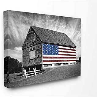 Stupell Industries Black and White Farmhouse Barn American Flag Canvas Wall Art, 16 x 20, Multi-Color