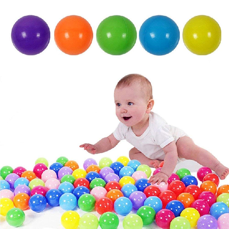 ROHSCE カラーボール おもちゃボール 直径5.5cm 7色50個 やわらかポリエチレン製 収納ネットセット(プール/ボールハウス用)