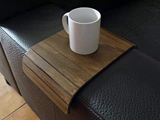 Mini tavolino laterale da bracciolo divano in legno personalizzabile noce scuro Piccolo vassoio colorato Design trasformab...