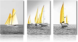 Meigan Art Wall Art The Canvas Prints Yellow Boat Black and White Painting Stretched Frame for Living Room Decor and Modern Home Decorations (16X24InchX3)