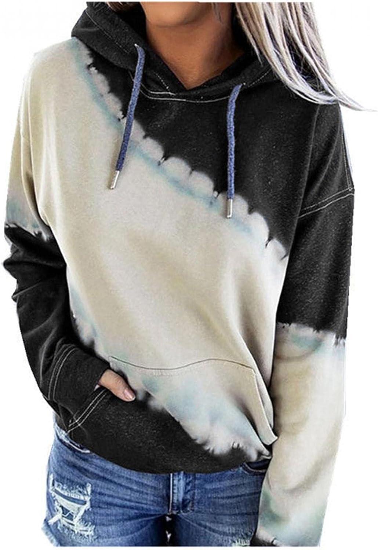 Hoodies for Women, Women's Crewneck Color Block Striped Long Sleeve Hooded Sweatshirts Teen Girls Pullover Sweater Tops