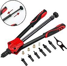 """DoubleSun 15"""" Auto Pumping Rod Rivet Nut Tool-Hand Riveter Rivet Gun Nut Setter Kit- 7 PCS Metric & Inch Mandrels(M3 M4 M5 M6 M8 M10 M12)"""