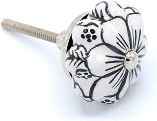Coco & Care 6pc. Black and White Ceramic Knobs   Hand Painted   Pumpkin   Cabinet Drawer   Kitchen   Dresser   Hardware   Vintage   Antique