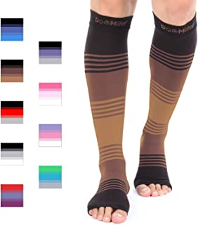 Doc Miller Premium Open Toe Compression Sleeve Dress Series 1 Pair 20-30mmHg Strong Support Graduated Sock Pressure Sports Running Recovery Shin Splints Varicose Veins (BlackBrownTan, Small)