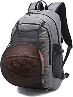 Men Waterproof Canvas USB Charger Port Tuguan Basketball Football Backpack (Grey)