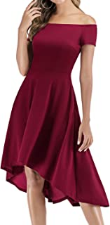 Gardenwed Women's Cocktail Party Dress Off The Shoulder Elegant High Low Bridesmaid Dresses with Pocket