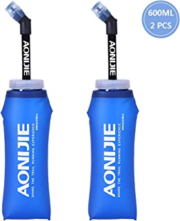 AONIJIE TPU Soft Water Flask, BAP Free, Collapsible Bottle for HydrationPack, Convenient for Running, Cycling, Hiking, Camping, Outdoor Sports and Traveling (600ML-2PCS)