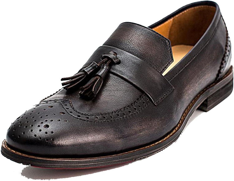 ZPJSZ Hommes été Loisirs Angleterre Broch Gland Respirant Jeunesse Chaussures en Cuir