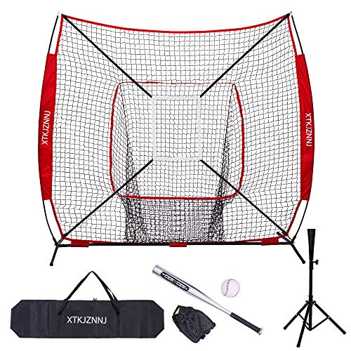 XTKJZNNJ Baseball Softball Practice Net for Hitting and Pitching,7'x7' Baseball Training Equipment with Batting Tee,Strike Zone,Carry Bag,Build Confidence Family Activity