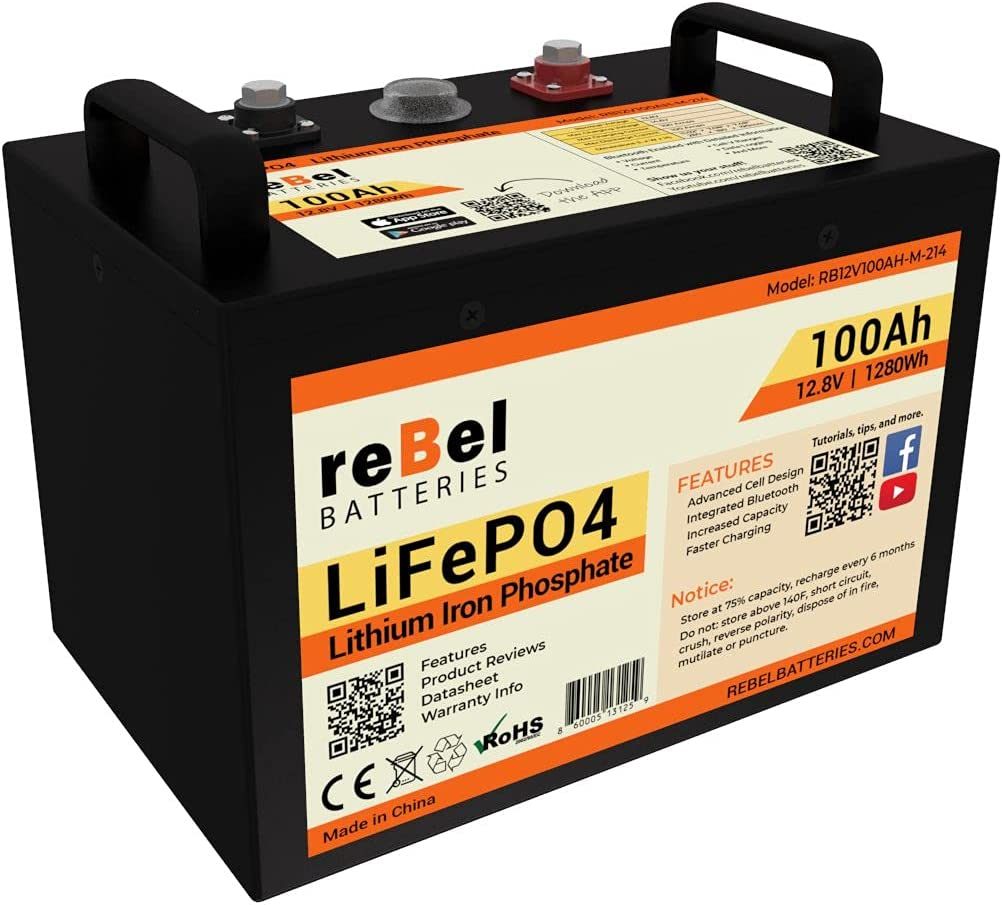 reBel Batteries Metal-Cased 100ah Lithium LiFePO4 Seattle Ranking TOP7 Mall Battery - 12V