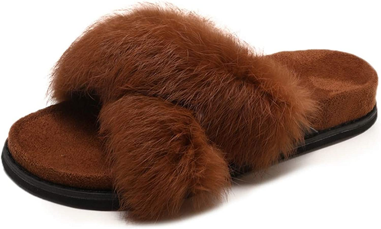FAY WATERS Women's Fluffy Faux Fur Flat Slides Autumn Winter Warm Outdoor Indoor Floor Home Slippers