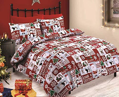 Velosso Christmas Fun Patchwork Reindeer Penguin Snowman Santa Duvet/Quilt Cover Red/White Xmas Bedding Set (Single)