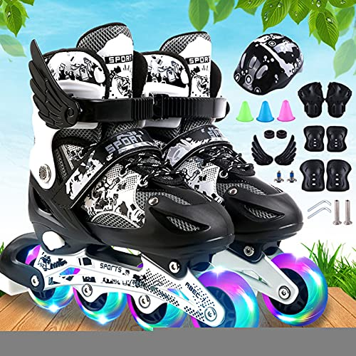 URBBR Herren Damen Inliner Inlineskates Einstellbare Rollschuhe Inline Skates, Rollschuhe mit LED Leuchtendem, 82A Rollen | ABEC7 Carbon Kugellager Für Erwachsene Anfänger Jungen Mädchen
