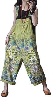 Mono holgado de algodón vaquero para ocio, pantalones con bolsillos