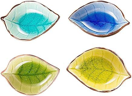 Preisvergleich für BESTONZON Schälchen Keramik Blätter Form Saucenschälchen Gewürz Gericht Schüssel Sushi Soja Servierschale (Zufällige Muster)