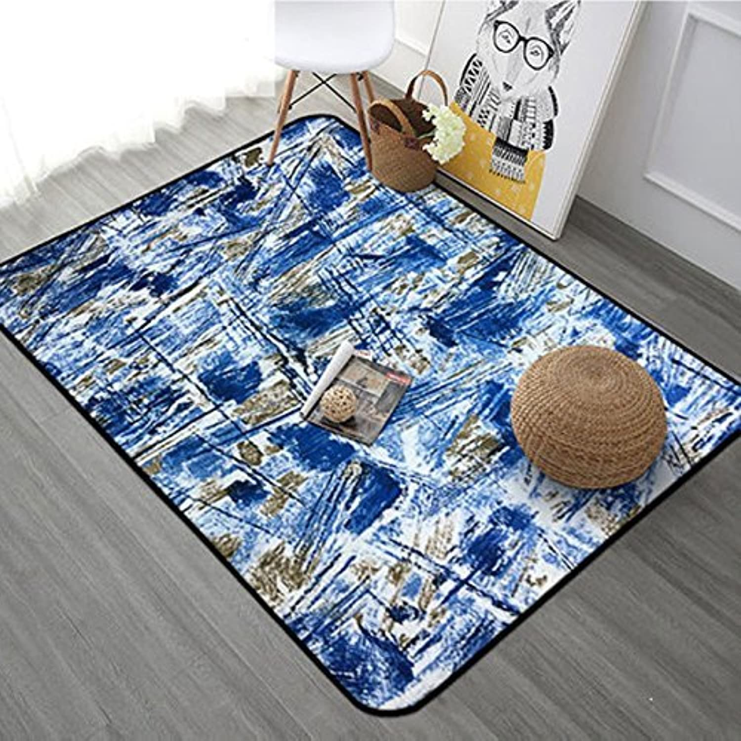 Modern Nordic Simple Geometric Carpet Low Table of Living Room Bedroom Home Shop Sofa Bed Cover Rectangular (color A, Size  70x140cm)