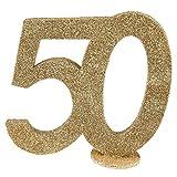 cama24com XXL Tischdeko Zahl 50 Geburtstag Gold Glitzer 1 Stück Party-Deko Palandi®