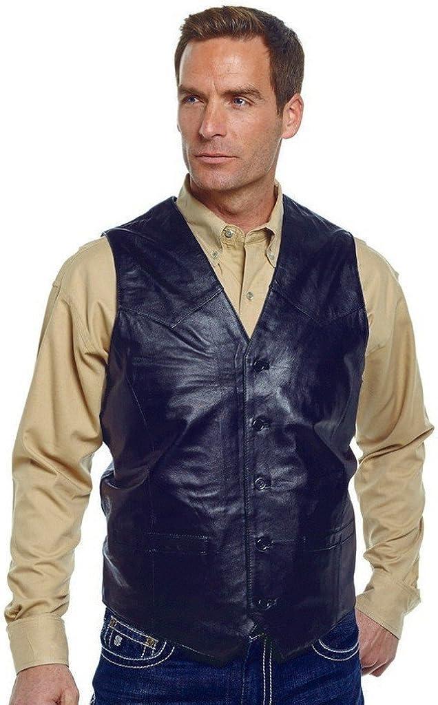 Cripple Creek Snap Front Boar Nappa Black Leather Vest (LT)