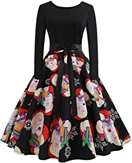 JOFOW Womens A Line Dresses Christmas Santa Claus Print High Waist Drawstring Swing Casual Tunic Elegant Midi