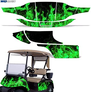 Wholesale Decals Golf Cart Graphics kit Sticker Decal Compatible with E-Z-GO TXT 1994-2013 - Green Flames