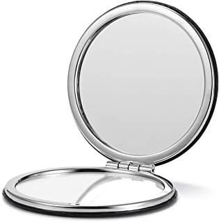 OMIRO Compact Mirror, Round PU 1X/3X Magnification,Ultra Portable for Purses and Travel (Black)