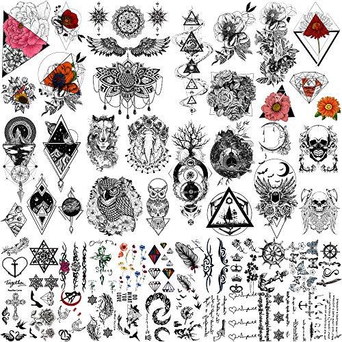 Yazhiji 32 Stück/Lot Rich Tattoo Patterns Totem Flower Rose Temporäre Tattoo-Aufkleber für Frauen Männer Jungen Mädchen Body Art Big Arm Tower Zeichnung Sonnenblume