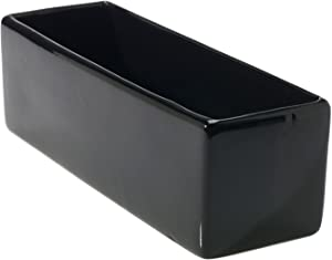 Glossy Black Ceramic Planter - 4 x 12 Inches - Urban Rectangular Pot for Succulents - Modern Planter for Office or Home