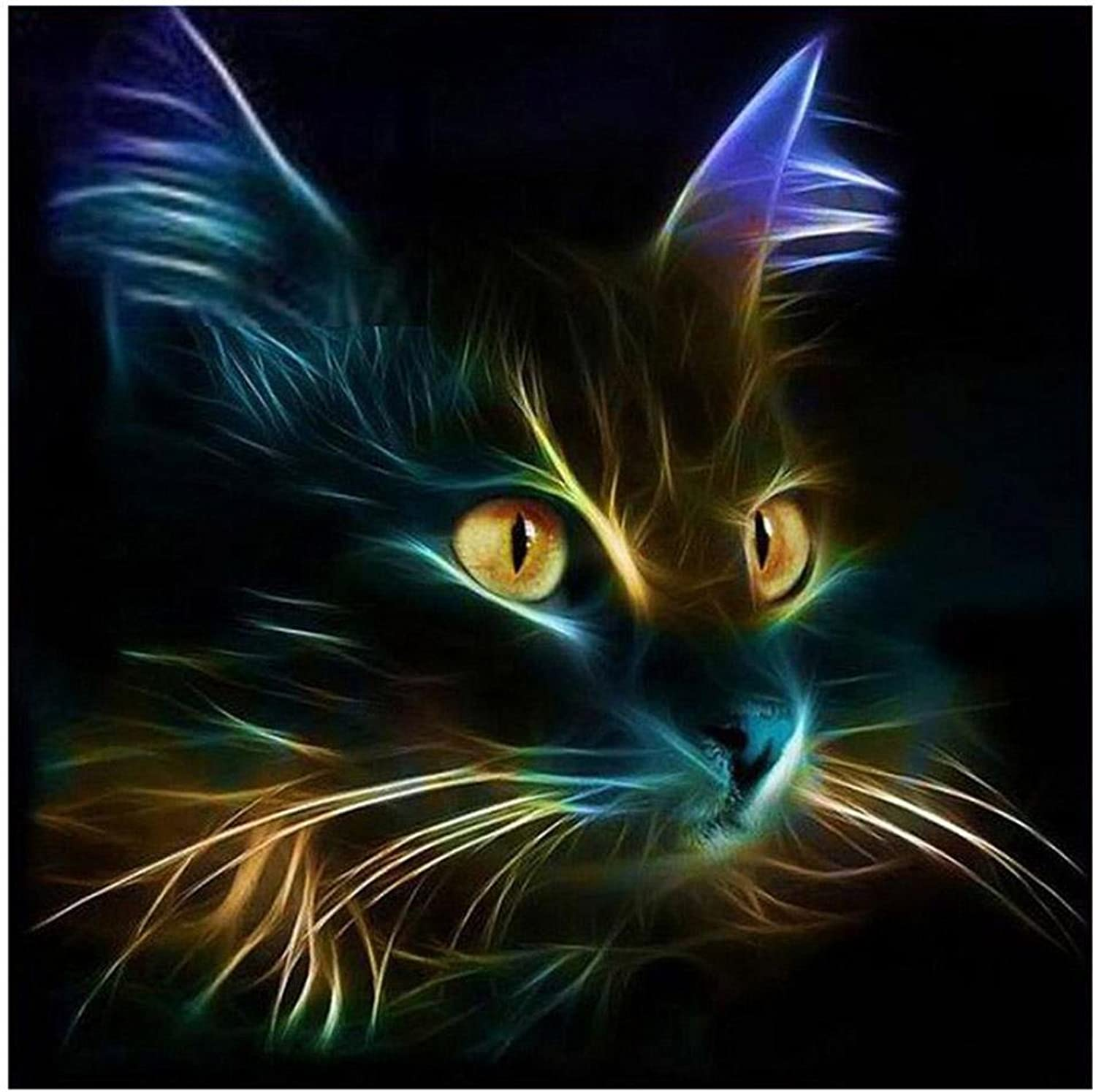 Farbe Cat Diamond Embroidery DIY 5D Paintings Cross-Stitch Painting By Number Kits Creative Paint Modern Decor Home Crystal Mosaic Resin , square diamond B07372F3M6 | Vorzügliche Verarbeitung