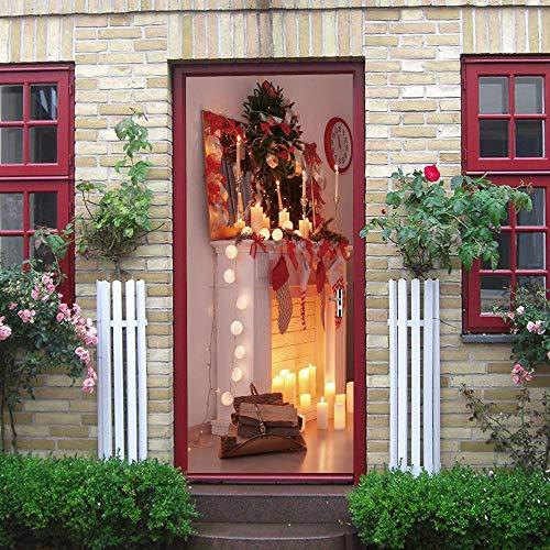 BXZGDJY 3D deursticker, deurfoto-emmer, open haard, 90 x 200 cm, oud boeken, bibliotheek, rek, boeken, antiek, kaarsen, rustiek behang, fotobehang, inclusief deurbehang, zelfklevend deurposter - fotobehang, deurfolie
